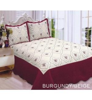 QUEEN BED SPREAD BUR/BEIGE 8/BX