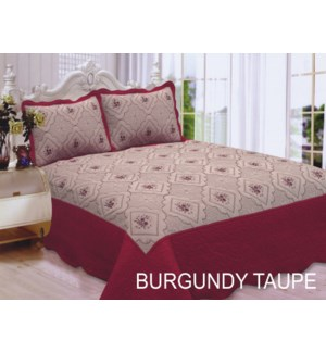 QUEEN BED SPREAD BUR/TAUPE  8/BX