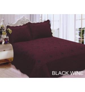 QUEEN BED SPREAD BLACK/WINE 8/BX