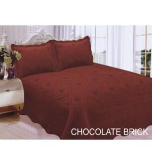 QUEEN BED SPREAD CHOCO/BRICK 8/BX
