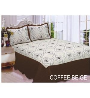 QUEEN BED SPREAD COFFEE/BEIGE 8/BX