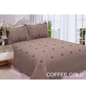 QUEEN BED SPREAD GOLD/COFFEE  8/BX
