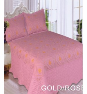 QUEEN BED SPREAD GOLD/ROSE   8/BX