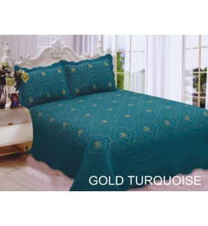 QUEEN BED SPREAD GOLD/TURQ 8/BX