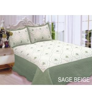 QUEEN BED SPREAD SAGE/BEIGE 8/BX