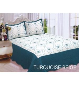 QUEEN BED SPREAD TURQ/BEIGE 8/BX