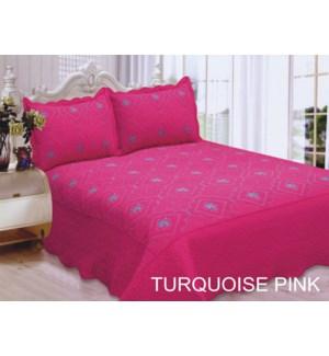QUEEN BED SPREAD TURQ/PINK  8/BX
