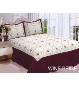 QUEEN BED SPREAD WINE/BEIGE  8/BX
