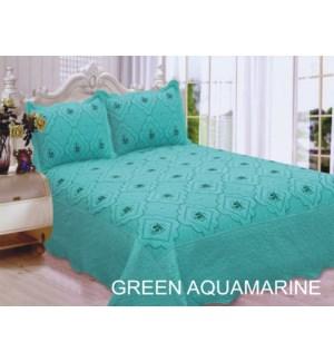 KING BED SPREAD GREEN/AQUA 8/BX