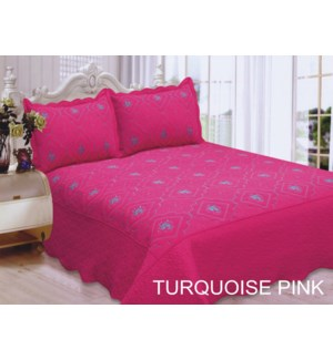 KING BED SPREAD TURQ/PINK   8/BX