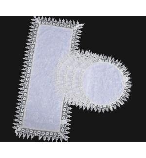"""5PCS- WHITE TABLE RUNNERS -1PC 16'X36' -4PCS 16'X16"""" 24/BOX"""