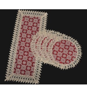 """5PCS-RED TABLE RUNNERS -1PC 16'X36' -4PCS 16'X16"""" 24/BOX"""