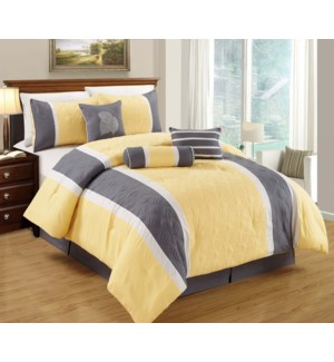 TWIN- YELLOW 5PC COMFORTER SET- 4/BOX