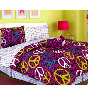 TWIN- LEOPARD/PEACE 6PC COMFORTER SET- 4/BOX