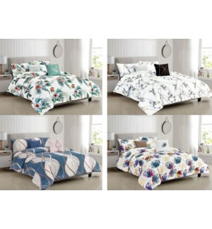 5- PC COMFORTER SET - 4 SETS / BOX (ASSORTED)