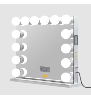 """HOLLYWOOD MIRROR 25.6""""X31.5"""" -1/BOX (14 LED -BULBS , LCD BLUETOOTH SPEAKERS , TWO-POWER OUTLET , TW"""