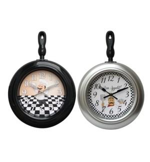 """FRYING PAN  WALL CLOCK 15""""X10"""" -- 12/BOX"""