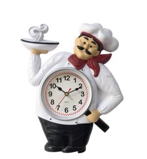 "CHEF  WALL CLOCK 12""x10"" -- 12/BOX"