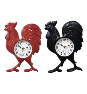 """ROOSTER  WALL  CLOCK 14""""X11"""" -- 12/BOX"""