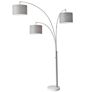 "FLOOR LAMP- COLOR : GREY +BRUSHED STEEL 22.5""x3.5""x58""  (TOP+BASE- 2BXS REQ'D)"