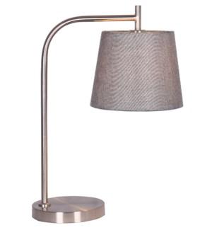 """TABLE LAMP- COLOR : SANTIN NICKEL 13""""x13""""x24.5"""" 1/ BOX"""