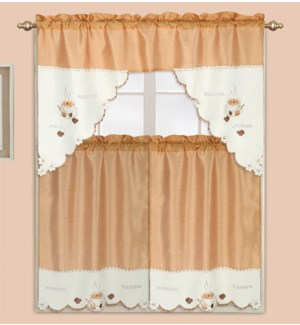"""3PC - EMBROIDERED COFFEE KITCHEN CURTAIN  - 58""""X36""""  - 24/BOX"""
