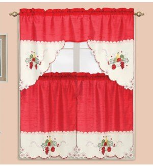 """3PC - EMBROIDERED FRUIT KITCHEN CURTAIN  - 58""""X36""""  - 24/BOX"""