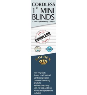 """23""""X64"""" - 1"""" CORDLESS MINI BLINDS - 6/BOX"""