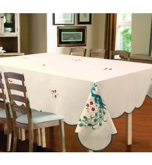 """EMBROIDERED PEACOCK TABLECLOTH - 70"""" R - 12/BOX"""