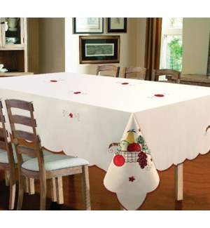 """EMBROIDERED FRUIT TABLECLOTH - 70"""" R - 12/BOX"""