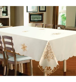 """EMBROIDERED SNOWFLAKE TABLECLOTH - 70"""" R - 12/BOX"""
