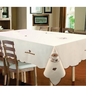"""EMBROIDERED COFFEE TABLECLOTH - 70"""" R - 12/BOX"""