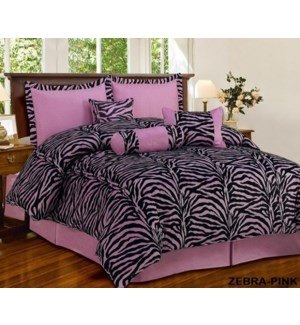 KING- ZEBRA PINK 7PC COMFORTER SET- 4/BOX
