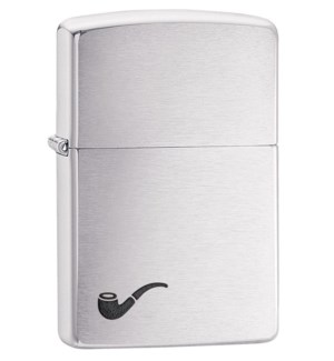 Brushed Finish Zippo with Pipe
