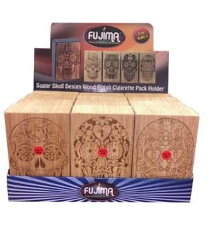 Sugar Skull Design Wood Finish Cigarette Pack Holder - King's