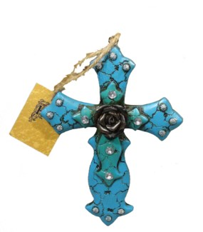 Rose Center Cross Ornament