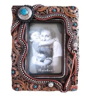 Leather Floral 4x6 Frame