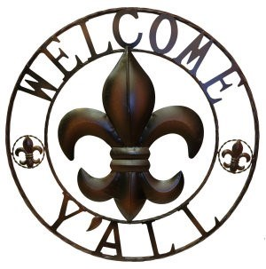 Fleur de Lis Welcome Y'all Sign