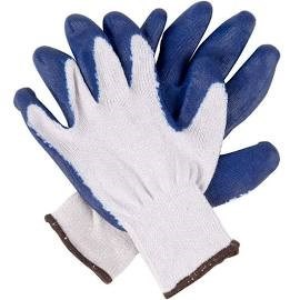 String Knit Blue Latex Grip Work Gloves
