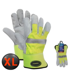 Hi Visibility Leather Gloves - XL