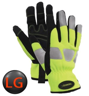 Hi Visibility Mechanic Gloves with Elastic Wrist - LG
