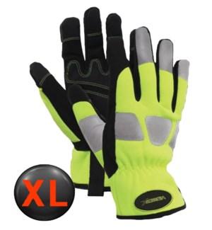 Hi Visibility Mechanic Gloves with Elastic Wrist - XL