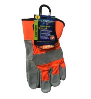 Hi-Vis Split Leather Gloves - Large