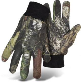 Mossy Oak Camo Jersey Gloves with Dots