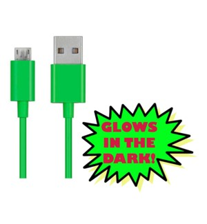 10' Android Charging Cable - Glow in the Dark