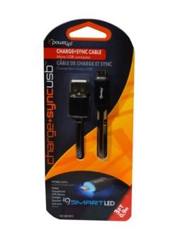 3 ft. LED USB Micro - Black