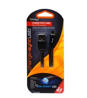 6 Ft. LED USB Micro - Black