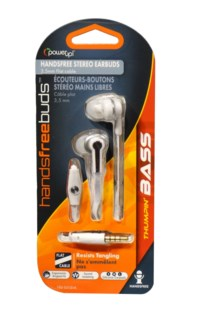 Flat Cord Earbuds W/Mic (White)