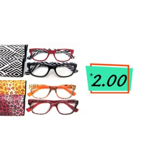+2.0 Reading Glasses & Matching Case