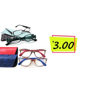+3.0 Reading Glasses & Matching Case